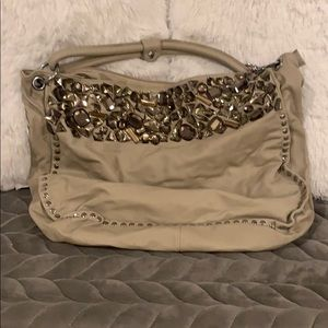 Handbags - Large Bejeweled Tan Slouchy Hobo Bag